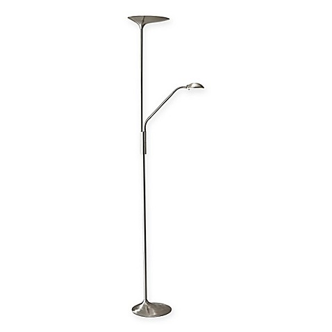 Adesso kepler led combo torchiere floor lamp in brushed for Torchiere floor lamp bed bath and beyond