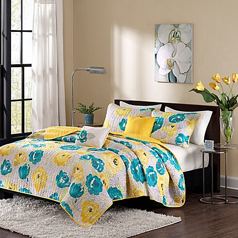 buy intelligent design cinna twin twin xl coverlet set in teal yellow from bed bath beyond. Black Bedroom Furniture Sets. Home Design Ideas
