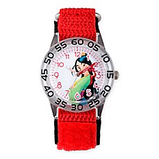 image of Disney® Mulan Children's Princess Time Teacher Watch in Clear Plastic w/Red Nylon Strap