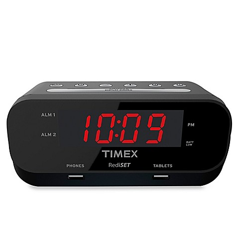 image of Timex  RediSet Dual Alarm Clock with Dual USB Charging Ports. Travel   Bedside Alarm Clocks and Clock Radios   Bed Bath   Beyond