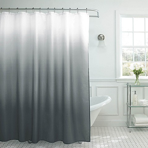 Buy Ombre Weave Shower Curtain In Dark Grey From Bed Bath Beyond