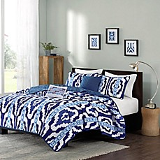 image of intelligent design nokomis coverlet set in blue