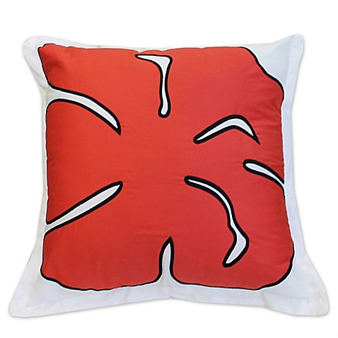 Ami McKay PURE Collection Twiggy Red Flower Square Throw Pillow