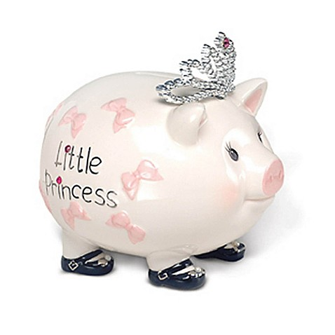 Mud pie baby princess piggy bank bed bath beyond for How to make a piggy bank you can t open
