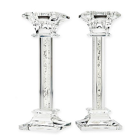 Crystal Glass 2-Set Candlestick Holders