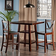 image of the winsome trading orlando 3piece high table and counter stool pub set