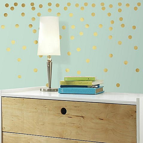 gold confetti dots peel and stick wall decals bed bath. Black Bedroom Furniture Sets. Home Design Ideas