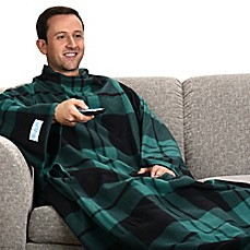 image of Snuggie® Checkered Blanket in Green and Black