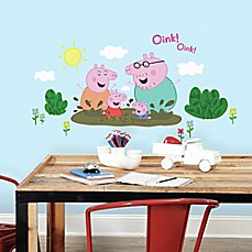 image of Peppa the Pig Family Muddy Puddles Peel and Stick Giant Wall Decals