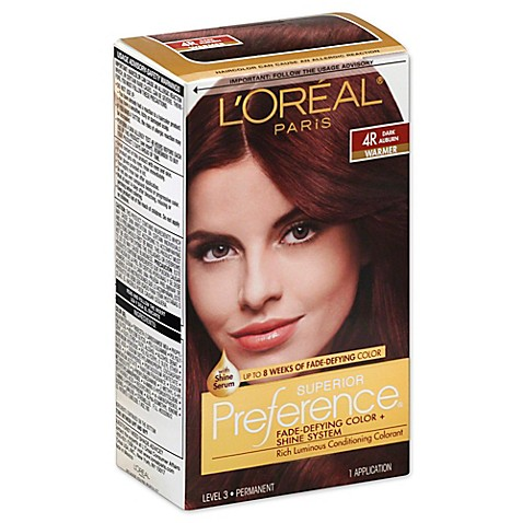 l oréal superior preference fade defying color and shine in 4r dark auburn from bed bath