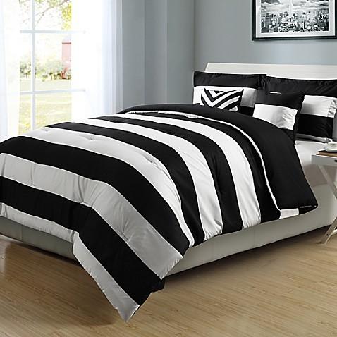 graphic stripe reversible comforter set in black white bed bath beyond. Black Bedroom Furniture Sets. Home Design Ideas