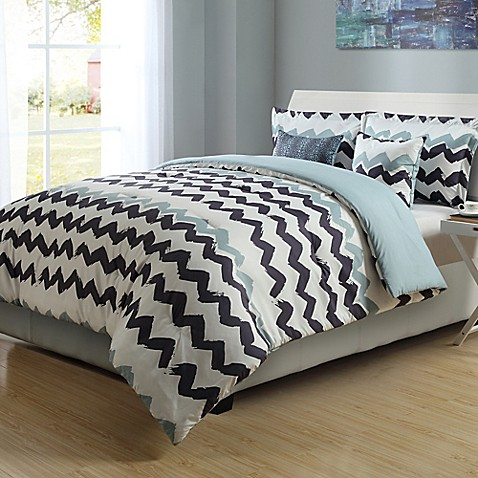 Paint Chevron Stripe Reversible Comforter Set Bed Bath