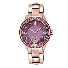 image of Vince Camuto Ladies' Swarovski-Accented Bracelet Watch in Rose Gold Stainless Steel with Purple Dial