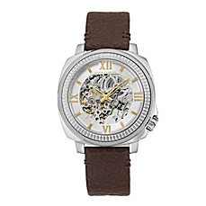 image of Vince Camuto® Men's 43mm Exposed Dial Watch in Stainless Steel w/Brown Leather Strap