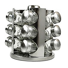 image of Rotating Stainless Steel Spice Rack with Glass Jars