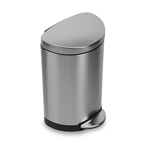 simplehuman® brushed stainless steel fingerprint-proof semi-round
