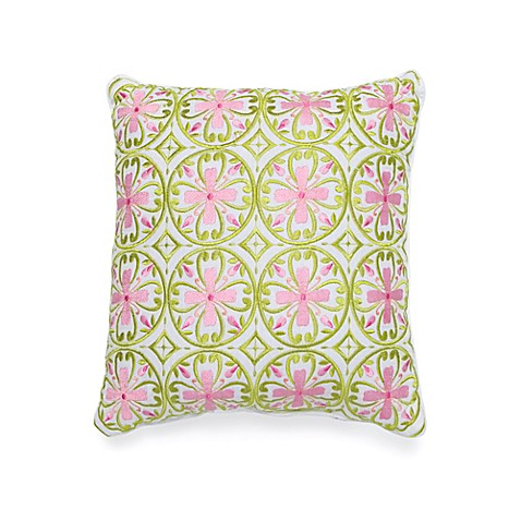 Buy Dena Home Capri 12-Inch Square Throw Pillow in White/Pink from Bed Bath & Beyond