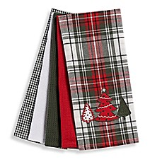 image of Holiday Plaid 5-Piece Kitchen Towel Set