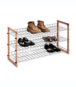 Zapatera de metal/madera de 3 niveles