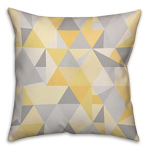 Square Throw Pillow Pattern : Triangles Pattern Square Throw Pillow in Yellow/Grey - Bed Bath & Beyond