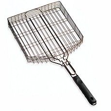 image of Oversized Deluxe Nonstick Oil Rubbed Bronze Barbecue Grilling Basket