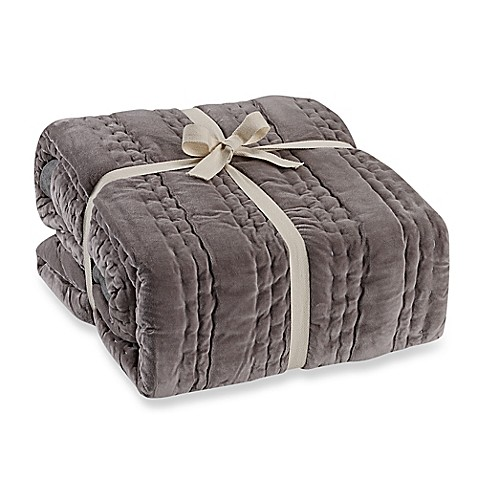 Wamsutta 174 Vintage Paisley Linen Throw Blanket In Grey