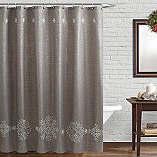 image of Snowfall Shower Curtain with Crewelwork Snowflakes