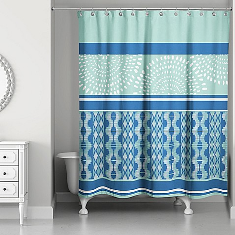 Boho Tribal Shower Curtain In Mint Blue