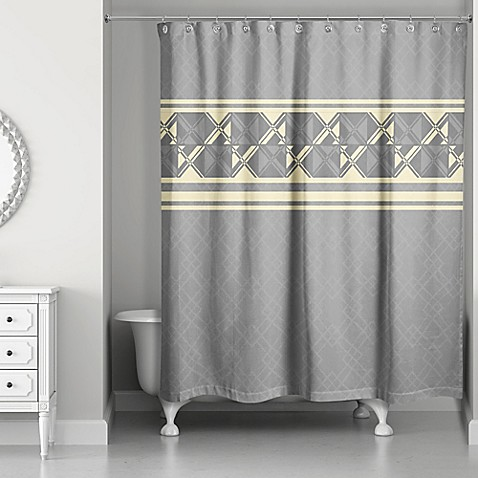 buy geometric inversed shower curtain in yellow grey from bed bath beyond. Black Bedroom Furniture Sets. Home Design Ideas