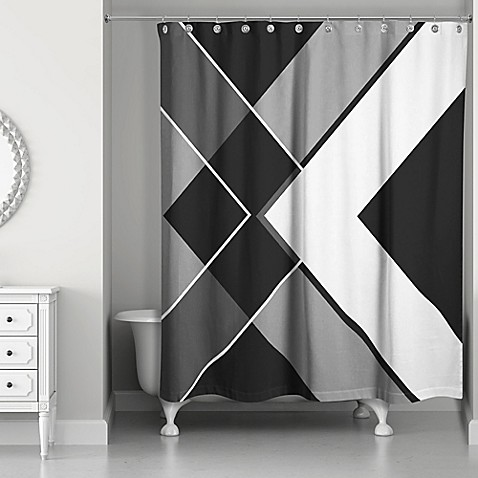 Asymmetrical angles shower curtain in black white bed bath beyond for Black and white bathroom shower curtain