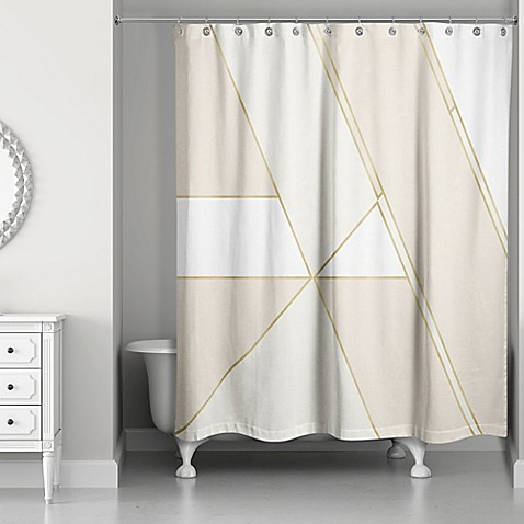 Color Block Shower Curtain In Gold Ivory
