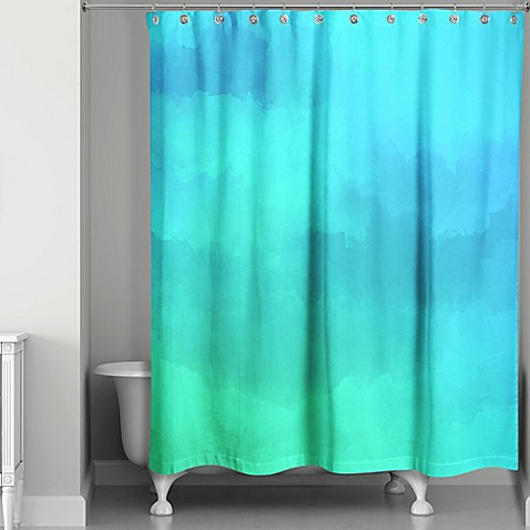 watercolor waterlife shower curtain in blue green bed bath beyond. Black Bedroom Furniture Sets. Home Design Ideas