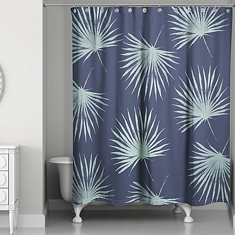 Leaves Shower Curtain In Navy Green Bed Bath Beyond
