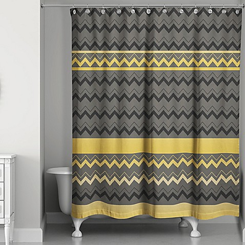 Chevron Stripes Shower Curtain In Black Gold Bed Bath Beyond