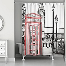 London Sketch Shower Curtain In Black Red