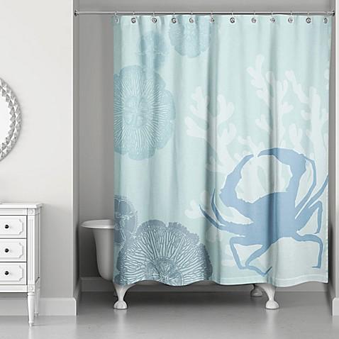 Crab Walk Shower Curtain in Blue - Bed Bath & Beyond