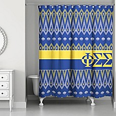 Image Of Phi Sigma Shower Curtain In Blue Yellow