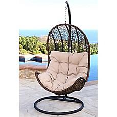 Abbyson Living® Newport Outdoor Wicker Egg Shaped Swing Chair In Brown/Beige
