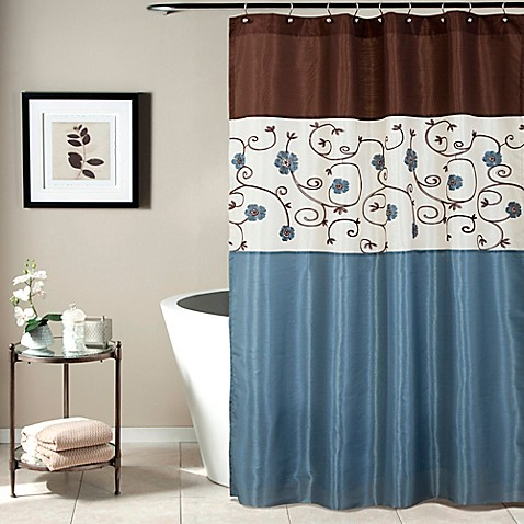 royal garden shower curtain in blue bed bath beyond
