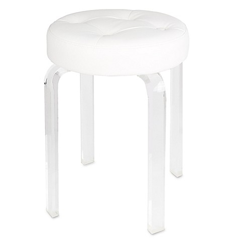 Modern Princess Round Vanity Stool In White Bed Bath Beyond