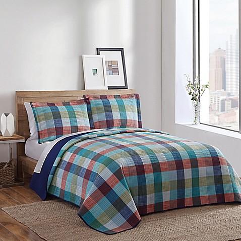 Brooklyn loom atlantic yarn dyed quilt in teal bed bath for Brooklyn loom bedding
