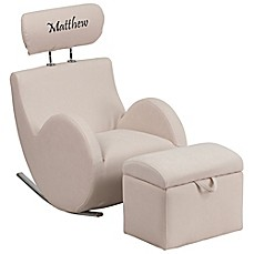 image of Flash Furniture Personalized Kids Rocking Chair and Ottoman Set in Beige