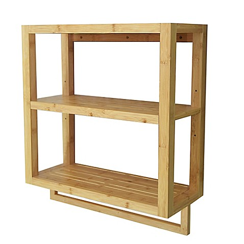 Buy Bamboo 2 Tier Wall Shelf With Towel Bar From Bed Bath Beyond