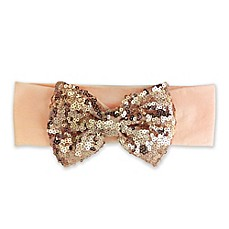 image of Elly & Emmy Sequin Bow Headwrap in Peach