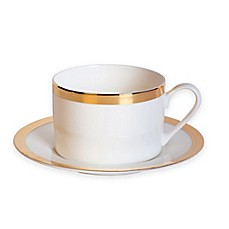 image of Nevaeh White® by Fitz and Floyd® Grand Rim Cup and Saucer in Gold