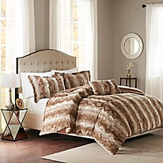 image of Madison Park Zuri Faux Fur Duvet Cover Set