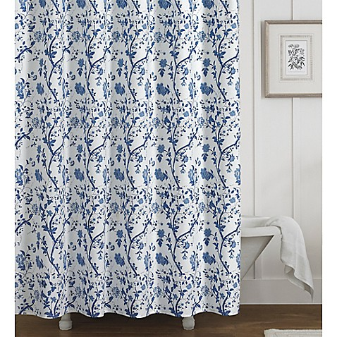 Laura ashley charlotte shower curtain in blue bed bath beyond laura ashleyreg charlotte shower curtain gumiabroncs Choice Image
