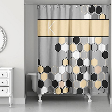 honeycomb shower curtain in grey yellow black bed bath beyond. Black Bedroom Furniture Sets. Home Design Ideas