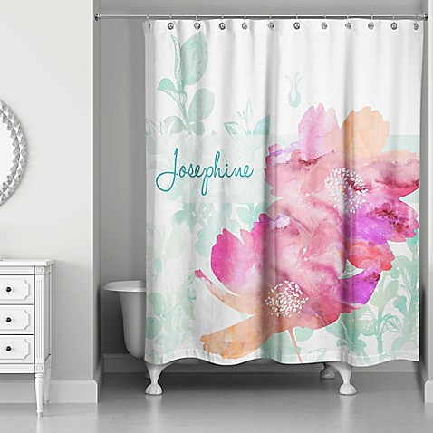 Watercolor Florals Shower Curtain In Pink Green White