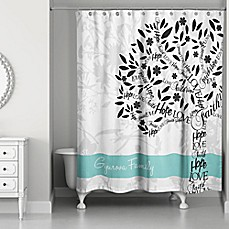 image of Family Tree Personalized Shower Curtain in White/Teal